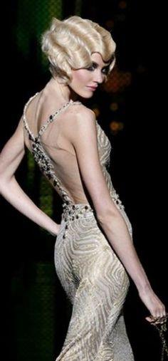 1920 s wedding - 1920s bridal hair - Zuhair Murad Fall Winter couture fingerwave, fashion, style, vintage hair, fingers, backless dress, zuhair murad, dresses, finger waves