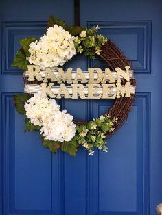 Ramadan wreath, ramadan kareem, ramadan decor, ramadan, eid decor, eid el fitr, holiday wreath, summer wreath, everyday wreath by NinasUniqueBoutique on Etsy https://www.etsy.com/listing/398057543/ramadan-wreath-ramadan-kareem-ramadan
