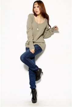 Women's O-Neck Long Sleeve Knitting Sweater on BuyTrends.com, only price $5.70