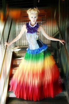 Rainbow dress made of recycled T-shirts- Scottsdale Fashion Week -Angela Johnson designs Rainbow Colored Dresses, Rainbow Colors, Recycled T Shirts, Old T Shirts, Rainbow Wedding Dress, Victoria's Secret, Rainbow Fashion, Taste The Rainbow, Festival Dress