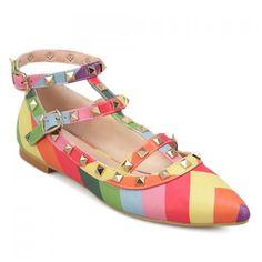 $26.39 Sweet Rivets and Rainbow Design Women's Flat Shoes