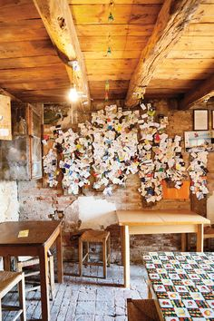 Cartizze, Italy. Osteria Senz Oste visitors' notes.   You pay what you feel is fair for what you eat and drink.