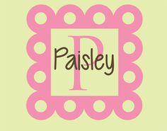 Baby Girl Name Wall Decal Nursery Monogram Vinyl Decor