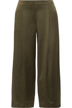 Theory - Zavabell Silk-satin Wide-leg Pants - Army green