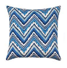 Blue Gray White Outdoor Throw Pillow, Chevron Charade Sapphire Outdoor Throw Pillow, Blue Patio Pillow, Chevron Cushion, Blue Pillow Cover