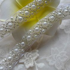Beaded Lace Trim Ivory Pearl Beaded Trim 36 long   Etsy Beaded Trim, Beaded Lace, Lace Trim, Lace Beading, Embroidery Fashion, Beaded Embroidery, Wedding Belts, Wedding Sash, Wedding Jewelry