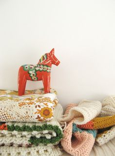 Dala horse + crochet. We had one that looked just like this growing up!