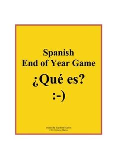 This fast-paced game makes a good year end review for Spanish students who have just one minute to give oral clues or gestures, hoping their team can guess the six words in a category. Targets verbs, clothing, foods, animals, professions, places, feelings, transportation, sports and more. 1st-2nd year Spanish 6th-10th gr. $