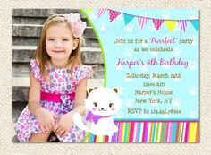 Kitty Cat Birthday Invitations by LollipopPrints on Etsy