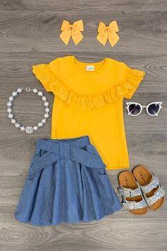 Mustard & Denim Skirt Set - Sparkle In Pink Dresses Kids Girl, Little Girl Outfits, Kids Outfits Girls, Denim Skirt Outfits, Casual Outfits, Cute Outfits, Cute Kids Fashion, Girl Fashion, Ladies Dress Design