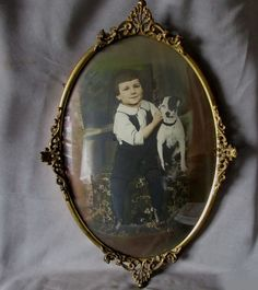 c1910s Bubble Glass Picture Frame with a Boy and his Dog from neatcurios on Ruby Lane