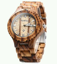 BEWELL ZS-W023A Mens Wooden Waterproof Auto date display Quartz watch