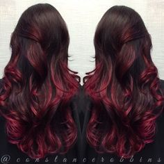 Dark violet red and magenta balayage ombré hair by Constance Robbins by The-black&white_symphony