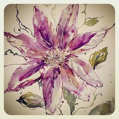 watercolor. watercolour painting of clematis flower. floral design. floral painting. inks https://www.facebook.com/RebeccaYoxallArt