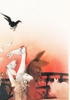 George Orwell's Animal Farm Illustrated by Ralph Steadman | Brain Pickings ... Lordy, these are fairly terrifying.