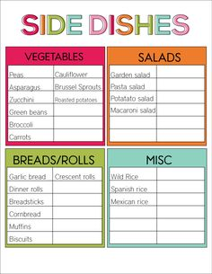 Printable Side Dishes