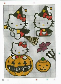 Hello Kitty Halloween perler bead pattern