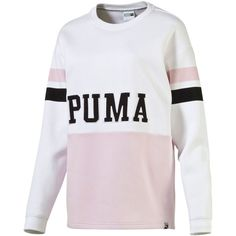 Puma Colorblocked Sweatshirt ($55) ❤ liked on Polyvore featuring tops, hoodies, sweatshirts, white, white sweatshirt, white top, color block sweatshirt, colorblock top and puma sweatshirt