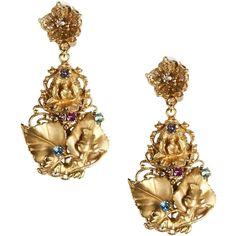 Dolce & Gabbana Earrings ($563) ❤ liked on Polyvore featuring jewelry, earrings, gold, rhinestone jewelry, dolce&gabbana, logo earrings, dolce gabbana jewelry and rhinestone stud earrings
