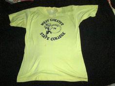 1979 West Chester State College vintage shirt medium drum Velva Sheen vtg yellow #VelvaSheen #GraphicTee