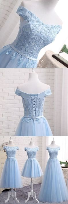 Blue tulle strapless customize bridesmaid dress, lace prom dress from Sweetheart Dress - Evening Dresses and Fashion Elegant Prom Dresses, A Line Prom Dresses, Lace Evening Dresses, Cute Dresses, Evening Gowns, Beautiful Dresses, Bridesmaid Dresses, Formal Dresses, Dress Prom
