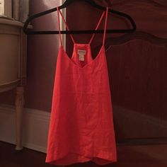 H and m orangey coral silk tank top Us size 2 great condition H&M Tops