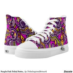 Purple Fish Tribal Pattern High Tops Printed Shoes