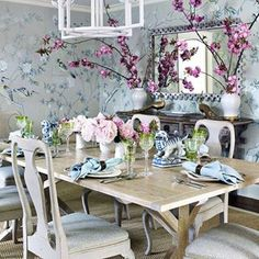{I love the juxtaposition of the beautiful, hand-painted deGournay wallpaper and the relaxed, whitewashed furniture in the dining room. The plaster chandelier unifies these elements and punctuates the space.} We have had spring-like temperatures and clear skies in Houston over the past several days and this beautiful project by Elizabeth Bauer Watt, featured in the March …