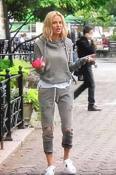 Dorit Kemsley wearing Nsf Lisse Hoodie in Pigment Rice and Gucci Ace Star Sneakers