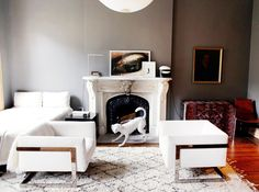 The Most Sophisticated Studio Apartment You've Ever Seen// small space living, Milo Baughman chairs, Moroccan rug