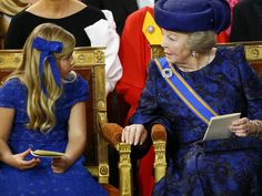 Princess Beatrix and her granddaughter, new Crownprincess Amalia during the coronation ceremony on 30-04-2013.