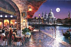 Global Gallery 'Cafe Barocco' by James Lee Painting Print on Wrapped Canvas Size: Oil Painting On Canvas, Painting Frames, Acrylic Canvas, Framed Wall Art, Canvas Wall Art, Diy Canvas, Gallery Cafe, Moonlight Painting, James Lee