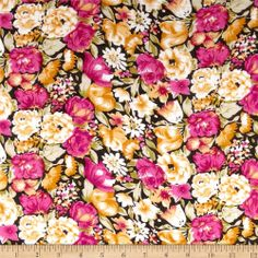 Rayon Challis Floral Pink/Gold from fabric.com