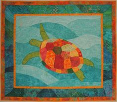 Sea turtle quilts | Turtle baby quilt by Tenar | Quilting Ideas