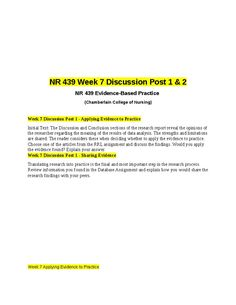 Week 7 Discussion Post 1 - Applying Evidence to PracticeInitial Text: The Discussion and Conclusion sections of the research report reveal the opinions of the researcher regarding the meaning of the results of data analysis. The strengths and limitations are shared: The reader considers these when deciding whether to apply the evidence to practice.Choose one of the articles from the RRL assignment and discuss the findings. Would you apply the evidence found? Explain your answer.Week 7…