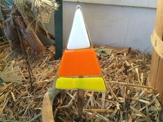 Fused glass candy corn garden stake by fusedglassbyjemima on Etsy, $10.00