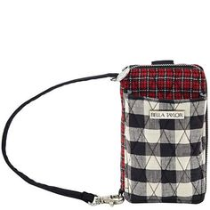 Ivy Wristlet Wallet - The Wristlet Wallet from our Ivy Collection features a classic black, white and red tartan, with contrasting front and back pockets of large scale black and white buffalo check. Measuring 6x0.5x3.5