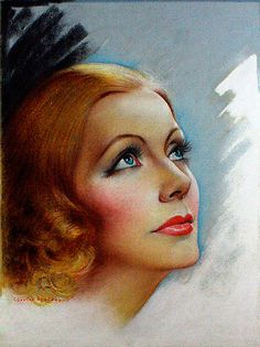 "Greta Garbo Artist:	Charles Sheldon Date:	1934 Medium:	Pastel on Illustration Board Dimensions:	Sight Size 11"" x 13"" Framed 21 1/4"" x 26 3/4"" Condition:	Excellent Original Use:	Cover for Screenland Magazine - June 1934"
