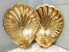 Vintage, Candle Sconces, Pair, Brass, Clam, Shell, Candle Holder, Wall Mount, Mid Century, Art Deco, Hollywood Regency, RhymeswithDaughter Mid Century Modern Candle Holders. Wall Mount. Sconces. Made of brass thin, light weight. Shaped like clam shells. They are in good vintage