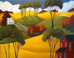 Original Painting Folk Art Landscape Autumn Day Country Farm Road Trees Clouds | eBay
