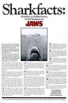 A collection of movie posters that ignore the golden rule of movie posters. Jaws 2, Jaws Movie, Film Movie, Shark S, Shark Week, Fabulous Beasts, Childhood's End, Shark Facts, Love Film