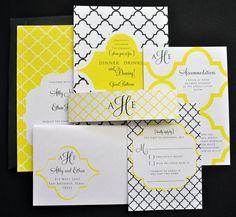 Heidi Moroccan Wedding Invitation Suite with Belly Band - Yellow, White, Black Wedding Invitation Suite, Invitation Set, Elegant Wedding Invitations, Invitation Design, Invite, Moroccan Party, Moroccan Wedding, Oriental Wedding, Modern Wedding Stationery