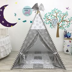 """Серый вигвам """"Серые мишки"""". Детский домик.Палатка - купить или заказать в интернет-магазине на Ярмарке Мастеров   Вигвам (150*120*120см)-4900 руб. <br /> …"""
