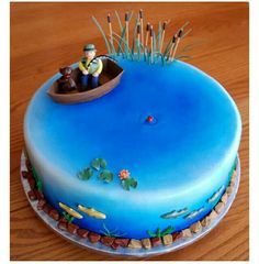Resultado de imagen para fathers day cakes fisher with action fish - Alles über Trendy 14th Birthday Cakes, Fish Cake Birthday, Superhero Birthday Cake, Geek Birthday, Minion Cupcakes, Cupcake Cakes, Aquarium Cake, Lake Cake, Pond Cake