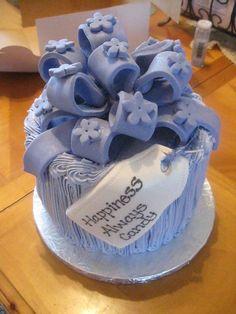 Blue hydrangea bridal shower cupcake tower.