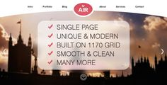 AIR - Single Page Creative PSD Theme by bigpsfan AIR is a unique, clean & modern creative Single Page PSD Template. It¡¯s Ideal for any creative studio or for portfolio . The psd files are fully layered and customizable.Features:Created on 1170 grid system. Thought to be responsi