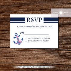 Beach Wedding Invitation Nautical Wedding Invite by JadorePaperie