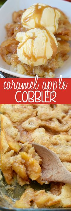 Entertaining & party dessert recipes for Fall - This Caramel Apple Cobbler is the perfect combination of delicious tart apples coated in cinnamon and smooth homemade caramel, all in an amazing warm from scratch cobbler! Fruit Recipes, Desert Recipes, Sweet Recipes, Fall Recipes, Baking Recipes, Apple Dessert Recipes, Recipies, Amazing Dessert Recipes, Easy Apple Desserts