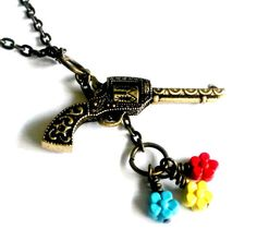 Rockabilly Revolver  Necklace Guns and Roses Handmade Gift