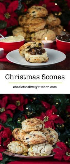 scones - brandy scones with mincemeat and marzipan. A festive twist on a classic afternoon tea treat.Christmas scones - brandy scones with mincemeat and marzipan. A festive twist on a classic afternoon tea treat. Christmas Scones, Christmas Buffet, Christmas Desserts, Christmas Nibbles, Christmas Food Treats, Christmas Biscuits, Christmas Cake Decorations, Christmas Breakfast, Xmas Food